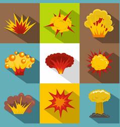Explosion destruction icon set flat style vector