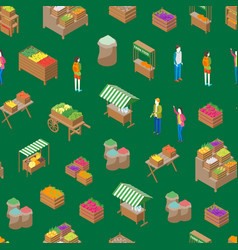 farm local market seamless pattern background 3d vector image