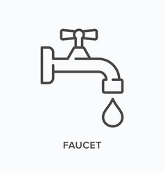 faucet flat line icon outline vector image