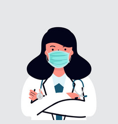 Female doctor with stethoscope medical flat style vector