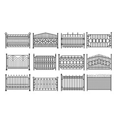 fence metal gates iron steel barriers fencing vector image