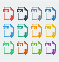 file extensions icons set vector image