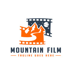 film trip to mountains logo vector image