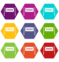 finish line gates icon set color hexahedron vector image