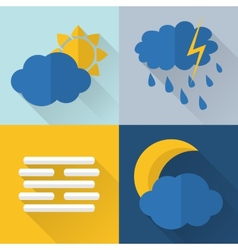 Flat style weather icons vector image