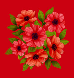 Flowers red poppies on red background vector