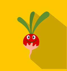 Fresh smiling radish icon flat style vector