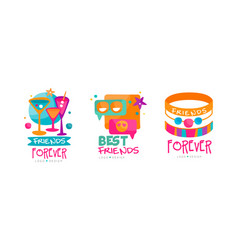 friends forever logo design with cocktails and vector image