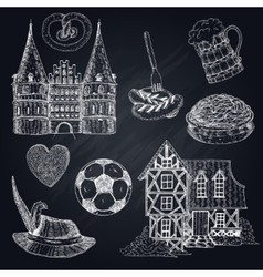 Germany Chalkboard Icon Set vector