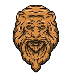 Golden lion head door knocker vector
