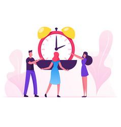 Group businesspeople put huge alarm clock on vector