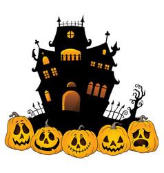 halloween house silhouette theme 4 vector image