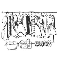 hand drawn wardrobe sketch furniture dress vector image
