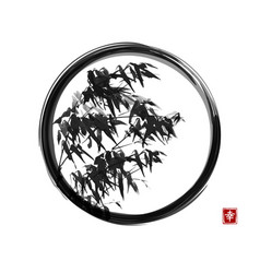 Ink wash painting bamboo in black enso zen vector