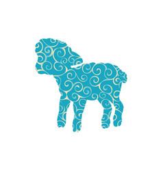 Lamb sheep farm mammal spiral pattern color vector