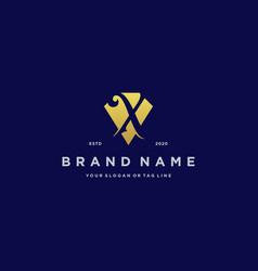 Letter x diamond gold logo design vector