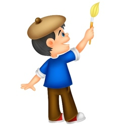 Little boy cartoon painting vector image