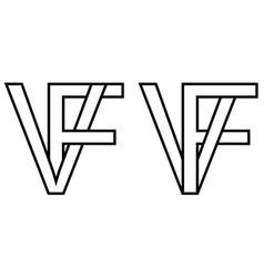 Logo sign fv vf icon sign interlaced letters v f vector