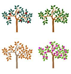 Logo tree seasonal trees set icons vector