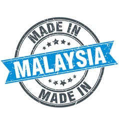 made in Malaysia blue round vintage stamp vector image