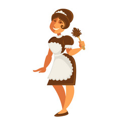 Maid or housekeeper woman in apron and duster vector