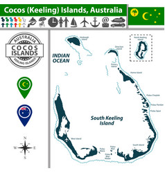 map of cocos islands australia vector image
