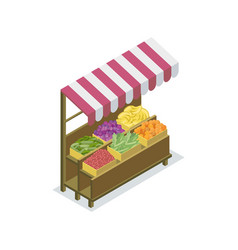 Market stand with canopy isometric icon vector