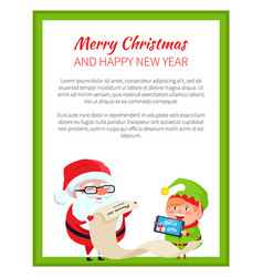 merry christmas and happy new year poster santa vector image