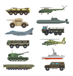 military technic transport equipment armor flat vector image