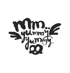 Mm yummy yummy calligraphy lettering vector
