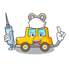 Nurse cartoon clockwork toy car in table vector