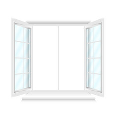 opened white window with blue glasses on white vector image