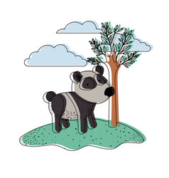 panda cartoon in outdoor scene with trees and vector image