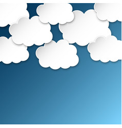 paper clouds on a blue sky artoon paper cloud vector image