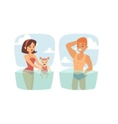 People in water vector