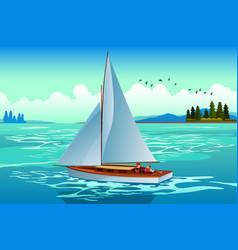 People sailing on sea vector