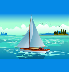 people sailing on the sea vector image
