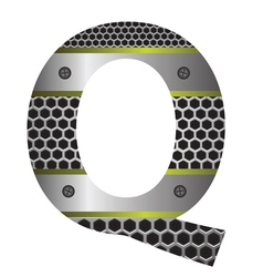 Perforated metal letter Q vector