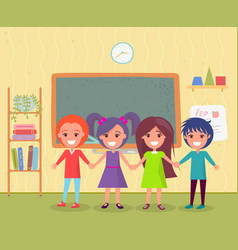 pupils in class back to school knowledge vector image
