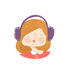 red-haired girl wearing headphones avatar vector image