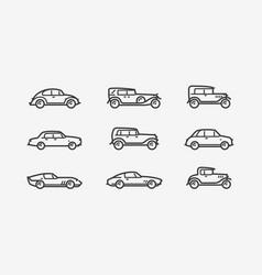 retro car icon set transport transportation vector image