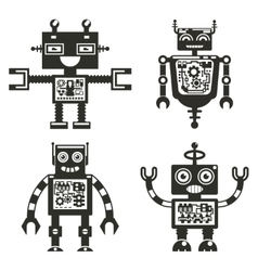 Robot icons Robots black signs vector