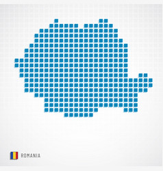 Romania map and flag icon vector