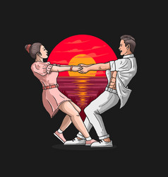 Romantic couple love dance vector