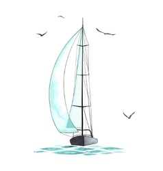 Sailboat in the sea and seagulls around vector image