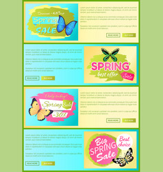 sale spring discount label online poster butterfly vector image