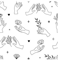 Seamless pattern female hand icons in minimal vector
