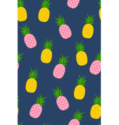 seamless pattern with tropical fruit pineapples vector image