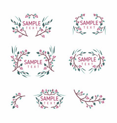 set floral frames wedding ornament concept vector image