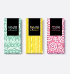 Set fun chocolate bar package designs vector